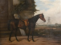 portrait of a horse in a landscape by arthur james stark