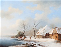 winter landscape with riders by a farm by frederik marinus kruseman