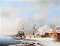 winter landscape with riders by a farm by frederik marinus kruseman