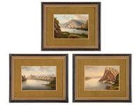 three landscape miniatures (3 works) by jean-baptiste fresez