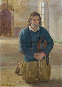 breton à l'église by paul abram