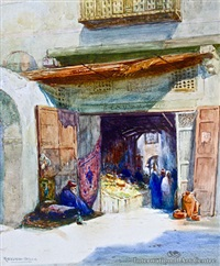 entrance to arab bazaar, cairo by robert herdman smith