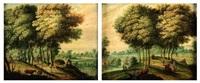 paysages de forêt avec promeneurs (pair) by jasper van der laanen