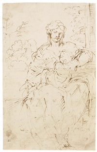 the madonna and child in a landscape by agostino carracci
