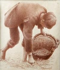 gathering mushrooms - a study by joseph malachy kavanagh