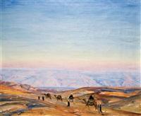 caravan in judea desert by ludwig blum