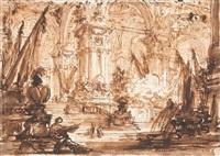 Intérieur d'un palais avec un arc triomphal, 1765