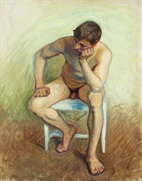 manlig aktstudie, sittande modell by eugene fredrik jansson