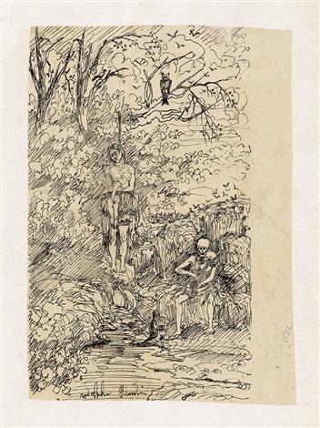 femme pendue et la mort jouant du violin by rodolphe bresdin