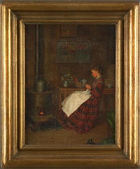 interior scene with a young girl sewing by william henry snyder