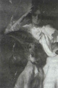 seated woman in white dress with greyhound by dorothy hart drew