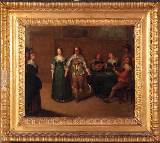jeune couple dans un intérieur avec un groupe de musiciens by louis de caullery