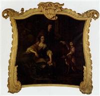 familieportret met op de achtergrond een buiten by daniel haringh