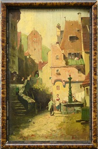 meeting at the village square by carl spitzweg