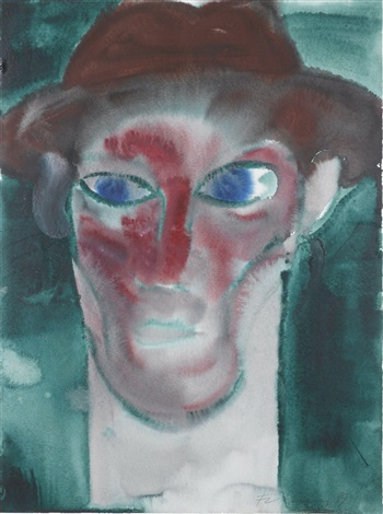 man with a hat green and red by rainer fetting