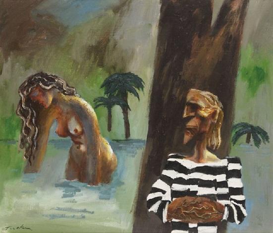 girl bathing by albert lee tucker