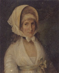 portrait of mrs. james beevor in a white dress with a green sash and a white lace bonnet by john theodore heins sr.