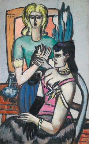 vor dem ball zwei frauen mit katze before the ball two women with a cat by max beckmann