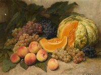nature morte au melon by adolph langhard