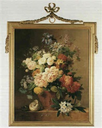 still life with flowers in a terra cotta vase by arnoldus bloemers