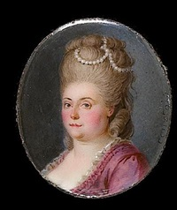 a lady, wearing mauve dress trimmed with white, her hair woven with strings of pearls by nicolas andré courtois