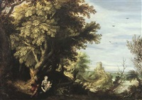 a wooded landscape with the rest on the flight into egypt by alexander keirincx