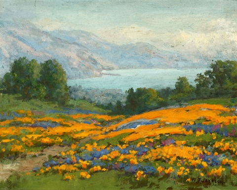california poppy and lupine landscape by william franklin jackson