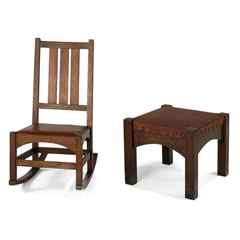 rocker and stool 337 by gustav stickley