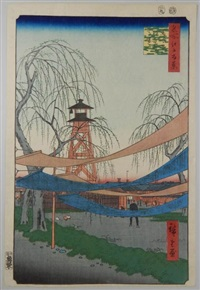 série des 100 vues célèbres d'edo. planche 6 - bakuro-ch? hatsune no baba. vue de la tour de feu et les tissus des teinturiers à bokurocho by ando hiroshige