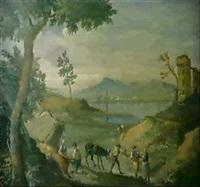 flusslandschaft mit bauern by antonio cioci