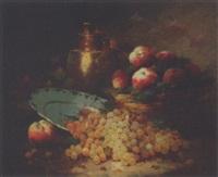 grappes de raisins et panier de pêches by laurence