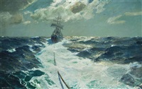under tow on a moonlit night by julius olsson