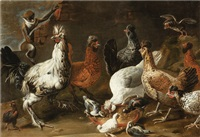 POULTRY AND A MONKEY IN A LANDSCAPE