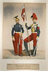 album photographique des uniformes de l'armée française (album w/66 works, folio) by louise laffon and alexis godillot