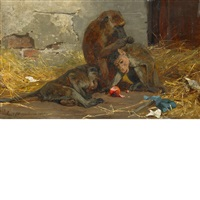 monkeys in a barn by paul friedrich meyerheim