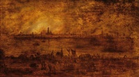 view of the schelde and a burning city of antwerp by frans de momper