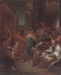 rabbis worshipping and studying inside a temple by daniel boone