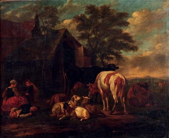 paysans et animaux by pieter van bloemen