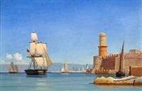 coastal scene on a quiet summer day with sailing ships (toulon arsenal in provence, france?) by carl dahl