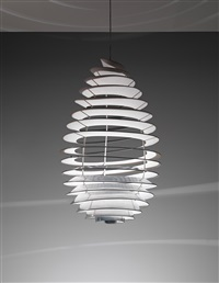 spiral ceiling light, designed for the university of aarhus by poul henningsen