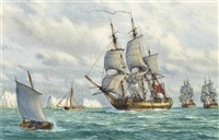 the fifth rate h.m.s. southampton leading the fleet into the solent off the needles by mark richard myers