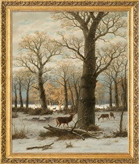 roe-deers in winter by caesar bimmermann