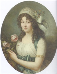 portrait of a lady in a white dress and a blue sash by a rosebush by marie-victoire lemoine