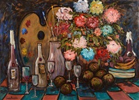 still life with painters palatte and brushes by gladys maccabe