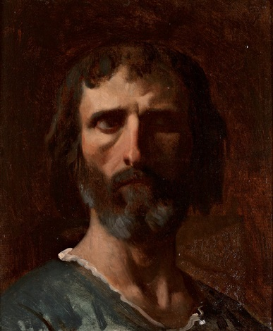 etude de tête dhomme pour la glorification de saint louis study by alexandre cabanel