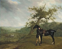 george irving with his black hunter beneath a blasted oak, hounds being put into a covert beyond by jacques-laurent agasse
