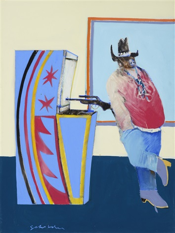 indian at gallup bus depot by fritz scholder