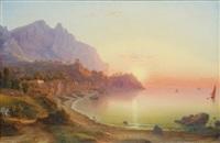 vue de la côte italienne, probablement capri by johann-rudolph buhlmann