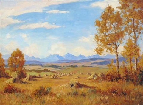 harvest in the foothills by roland gissing