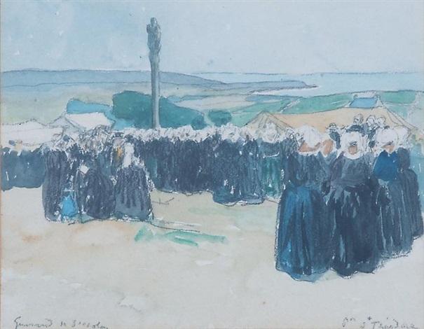 assemblée de bretonnes pour une procession by lucien victor guirand de scévola